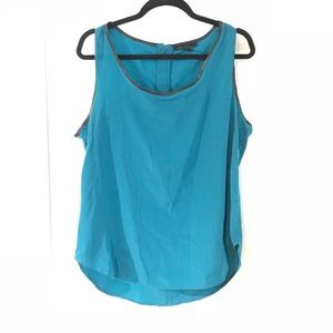 KENNETH COLE Teal Faux Leather Trim Tank Blouse XL